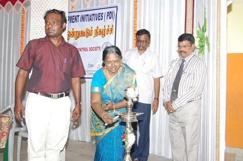 Ms.Sushela Aarvindan Lighting the Lamp in the Inaugural Function of Community Event TI Tiruchy